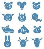 Ícones de animais bonitos, horoscope engraçado. Foto de Stock Royalty Free