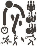 Ícones de Bowiling Imagem de Stock