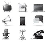 Ícones de Communcication | Série de B&W Fotografia de Stock Royalty Free