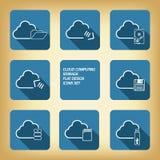 Ícones de computação do armazenamento da nuvem ajustados Fotos de Stock Royalty Free