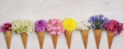 Cones de gelado com flores bonitas Imagem de Stock Royalty Free