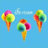 Cones de gelado da aquarela Fotografia de Stock