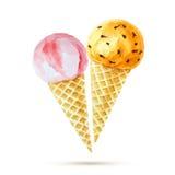 Cones de gelado da morango, do chocolate, da baunilha e do pistachio sobre o fundo branco Ilustração do Vetor