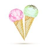 Cones de gelado da morango, do chocolate, da baunilha e do pistachio sobre o fundo branco ilustração royalty free