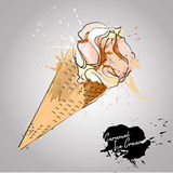 Cones de gelado da morango, do chocolate, da baunilha e do pistachio sobre o fundo branco Imagem de Stock Royalty Free