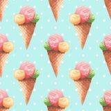 Cones de gelado da morango, do chocolate, da baunilha e do pistachio sobre o fundo branco Teste padrão da aquarela Fotografia de Stock
