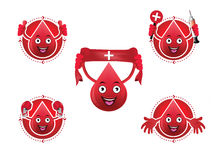 Ícones de sorriso do sangue dos desenhos animados ajustados Foto de Stock