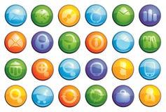ícones de vidro do negócio ajustados Fotografia de Stock
