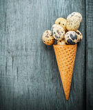 Cones are decorated for Easter quail eggs and Royalty Free Stock Photography