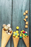 Cones are decorated for Easter quail eggs and Royalty Free Stock Photos