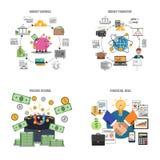 Ícones decorativos da finança ajustados Fotos de Stock Royalty Free