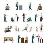 Ícones desabrigados ajustados Imagens de Stock