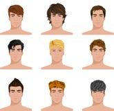 Ícones diferentes das caras dos homens do penteado ajustados Fotos de Stock Royalty Free
