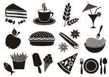 Ícones do alimento e da bebida Foto de Stock