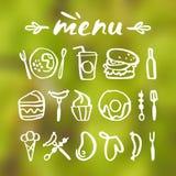 Ícones do alimento no estilo desenhado à mão Fotos de Stock