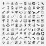 Ícones do animal de estimação da garatuja ajustados Fotografia de Stock Royalty Free
