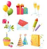Ícones do aniversário Imagem de Stock