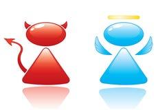 Ícones do anjo e do diabo Foto de Stock Royalty Free