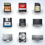 Ícones do armazenamento de dados  Fotos de Stock Royalty Free