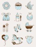 Ícones do bebê - menino Foto de Stock