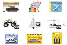 Ícones do brinquedo do vetor. Brinquedos do adolescente Imagens de Stock Royalty Free