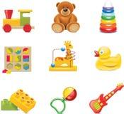 Ícones do brinquedo do vetor. Brinquedos do bebê Fotografia de Stock Royalty Free