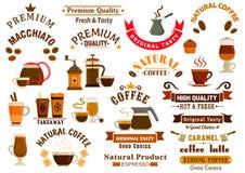 Ícones do café e das sobremesas para quadros indicadores do café Imagens de Stock Royalty Free