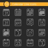 16 ícones do calendário Fotos de Stock Royalty Free