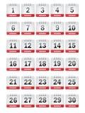 Ícones do calendário de novembro Imagens de Stock Royalty Free