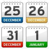 Ícones do calendário do tempo do Natal Fotos de Stock
