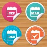 Ícones do calendário setembro, março, dezembro Foto de Stock Royalty Free