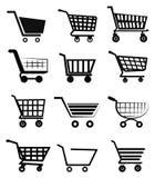 Ícones do carrinho de compras Fotografia de Stock