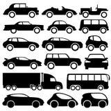 Ícones do carro no branco. Foto de Stock Royalty Free