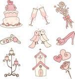 Ícones do casamento Imagens de Stock