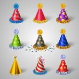 Ícones do chapéu do partido ajustados Imagem de Stock Royalty Free