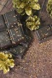 Cones do chocolate e de ano novo Fotografia de Stock Royalty Free