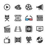 Ícones do cinema e do filme brancos Vetor Fotos de Stock Royalty Free
