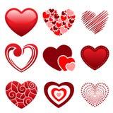 Ícones do coração Fotografia de Stock Royalty Free