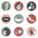Ícones do círculo com objetos dos termas da beleza Fotografia de Stock