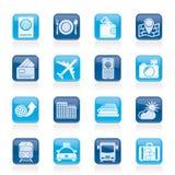 Ícones do curso, do transporte e das férias Imagem de Stock Royalty Free