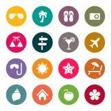 Ícones do curso e das férias Imagem de Stock