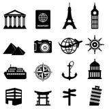 Ícones do curso e do turismo Imagens de Stock Royalty Free