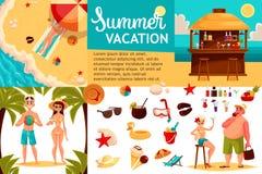 Ícones do curso, Infographic com elementos dos feriados Imagem de Stock
