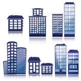 Ícones do edifício ajustados Ilustração do vetor Série de Simplus Imagens de Stock