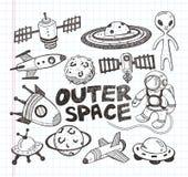 Ícones do elemento do espaço da garatuja Fotos de Stock
