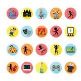 Ícones do entretenimento ajustados Imagens de Stock