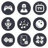 Ícones do entretenimento Jogo, boliches e enigma Foto de Stock