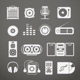 Ícones do equipamento audio Foto de Stock Royalty Free