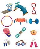 Ícones do equipamento da aptidão dos desenhos animados Fotografia de Stock
