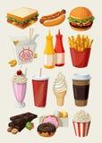 Ícones do fast food Foto de Stock Royalty Free